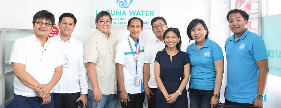 In-photo /L-R/: Councilor Alexis Desuosido, Laguno Water Finance Head Rolando Suma/lo, Coundlor Jaime Salandanan, Laguna Water Technicaf Operations Head Valentino Alano, City Administrator Romulo Reyes, Laguna Water General Manager and COO Shaebe Hazel Caang, Laguna Water Business Operations Head Camille Orbesa, and Laguna Water Technical Services Head Radel Del Rosario