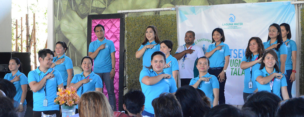 "Laguna Water Management Team dancing to its desludging jingle, ""Poo-poo song""."