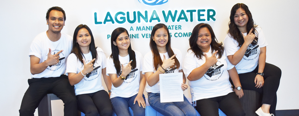 Laguna Water's Team SAVE (L-R): Communications and Branding Specialist Dustin Ibanez, Used Water Facility Manager Harriette Berdan, Territory Manager Havenlynne Garcia, Used Water Operations Manager Rheena Paola Go, Territory Manager Glenny Ermita, and Used Water Facility Manager Nariyah Marie Ilagan.