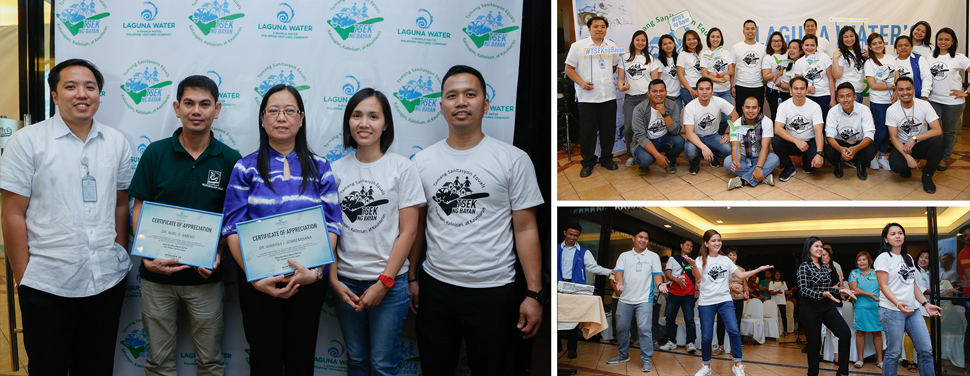 Photo on Left (L-R): Laguna Water Operations Head Rodel V. Del Rosario, Dr. Noel G. Sabino, Dr. Marissa J. Sobremisana, Laguna Water Business Operations Head Sol N. Dimayuga, and Laguna Water General Manager Melvin John M. Tan. Upper Right Photo: Laguna Water's TSEK ng Bayan Team. Lower Right Photo: Laguna Water dances to the company's desludging services jingle, Poopoo song.