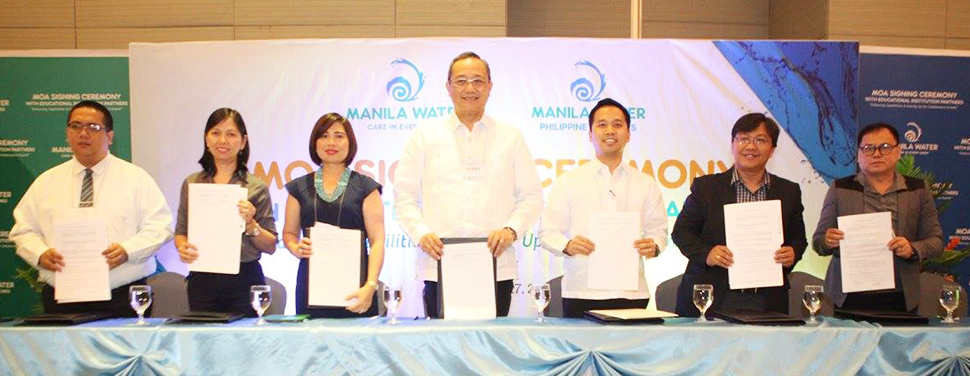 Manila Water President and CEO Virgilio C. Rivera, Jr. (4th from left), Manila Water Corporate Human Resources Group Director Janine T. Carreon (3rd from left), South Luzon Regional Business Cluster Head and Laguna Water General Manager Melvin John M. Tan (5th from left) together with the representatives of partner schools during the MOA signing at Luxent Hotel, Quezon City.
