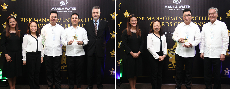 Laguna Water wins big at the Gawad Iwas-Lunas: Risk Management Excellence Awards 2016. Photo on left: Laguna Water General Manager Melvin John M. Tan accepts the Best Risk Management Culture Award 2016. Photo on right: Laguna Water Finance and concurrent Regulatory & External Affairs Head Mark Mesina receives the Risk Advocate of the Year award.