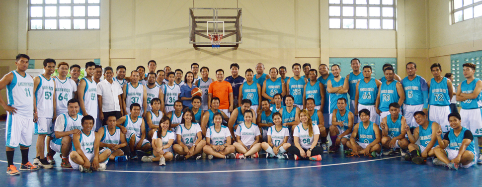 Championing work-life balance. Laguna Water players from different teams pose with the team muses and members of the Leadership Team during the opening ceremony of the 1st Laguna Water Company Basketball Tournament on May 20.